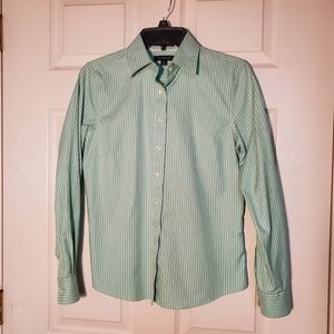 Land's  End Long Sleeve No Iron Pinpoint Shirt